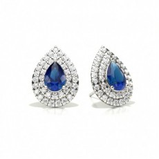 Prong Setting Pear Blue Sapphire Halo Stud Earring