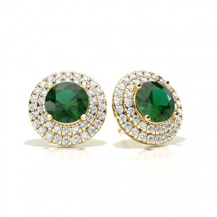 Prong Setting Round Emerald Halo Stud Earring