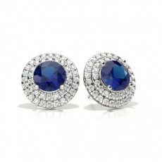 Prong Setting Round Blue Sapphire Halo Stud Earring