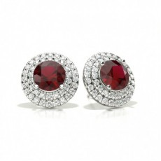 Prong Setting Round Ruby Halo Stud Earring