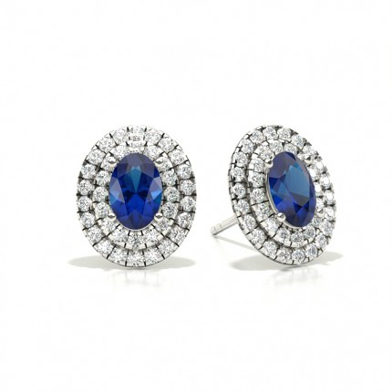 Prong Setting Oval Blue Sapphire Halo Stud Earring