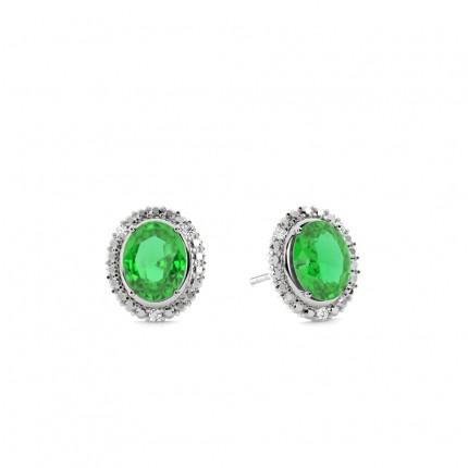 4 Prong Setting Oval Emerald Halo Earring