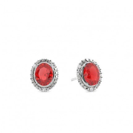 4 Prong Setting Oval Ruby Halo Earring