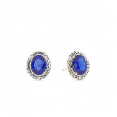 4 Prong Setting Oval Blue Sapphire Halo Earring