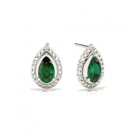 3 Prong Setting Pear Emerald Halo Earring