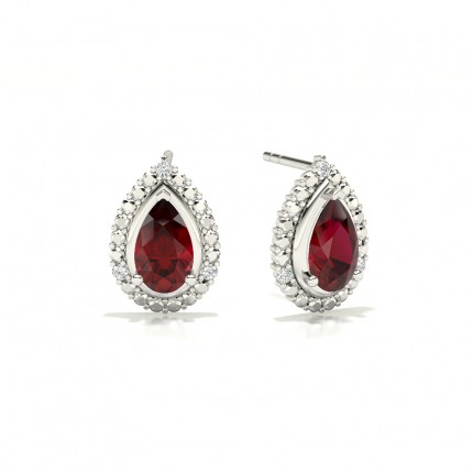 3 Prong Setting Pear Ruby Halo Earring