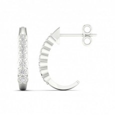 Illusion Prong Setting Round Hoop Diamond Earrings
