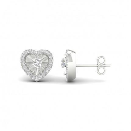 Micropave Setting Round Stud Diamond Earrings