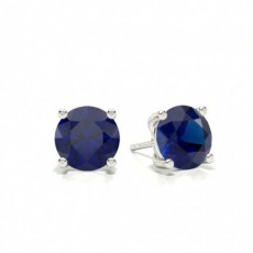 Prong Setting Pear Blue Sapphire Stud Earring