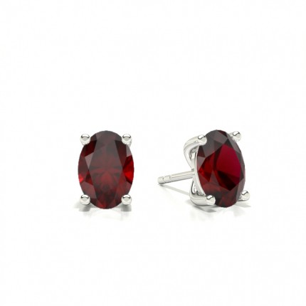 4 Prong setting Oval Ruby Stud Earring