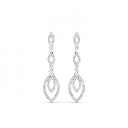 Micro Prong Setting Round Diamond Drop Earrings