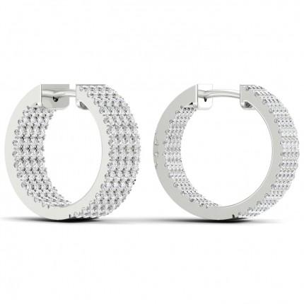 Micro Pave Setting Round Diamond Hoop Earrings