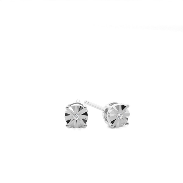 Prong Setting Round Diamond Stud Earring