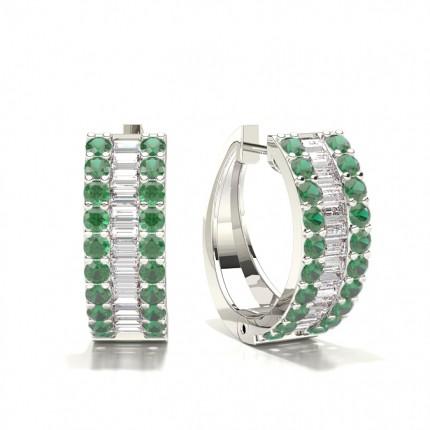 Prong Setting Emerald Hoop Earring