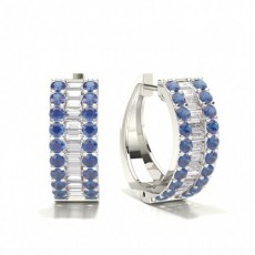 Prong Setting Round and baguette Blue Sapphire Hoop Earring