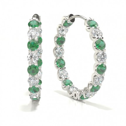 Prong Setting Round Emerald Hoop Earring