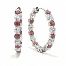Prong Setting Round Ruby Hoop Earring