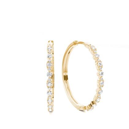 Or Jaune Boucle d'oreille Créoleen Diamant