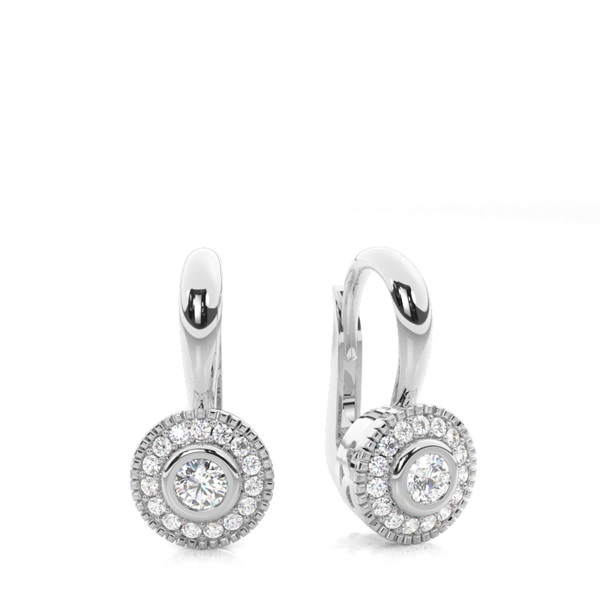 Bezel Setting Round Diamond Hoop Earrings
