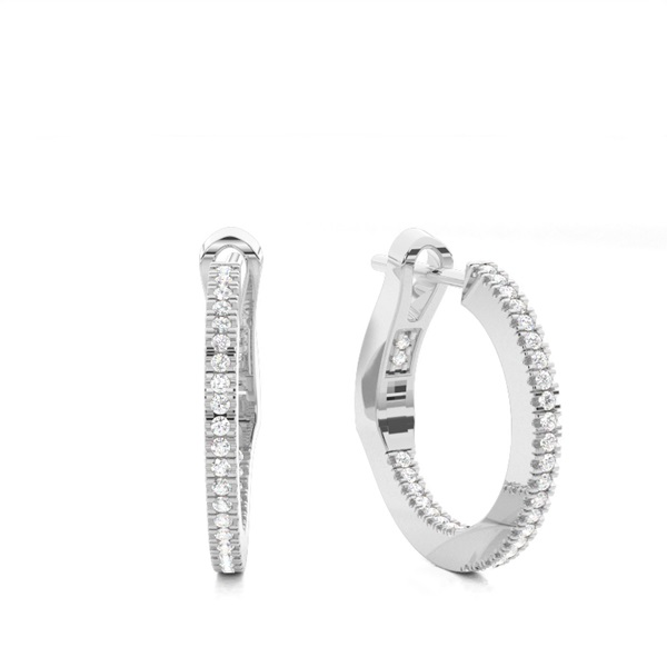 Micro Prong Setting Runde Diamant Creolen