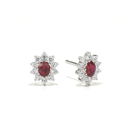 Prong Setting Halo Ruby Earring