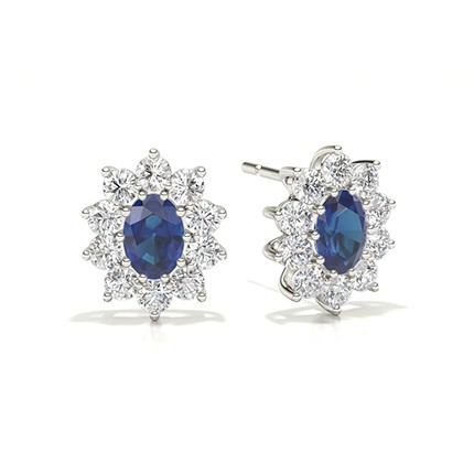 Prong Setting Halo Blue Sapphire Earring