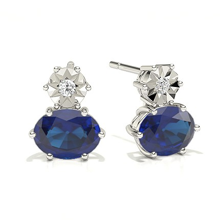 Ovale blaue Saphir-Tropfen-Diamant-Ohrringe
