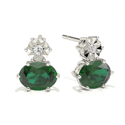 Ovale Smaragd-Tropfen-Diamantohrringe