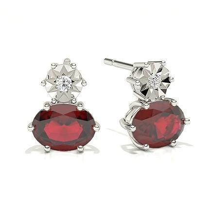 Oval Ruby Drop Diamond Earrings