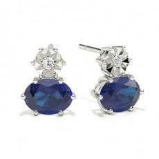 Oval Sapphire Earrings