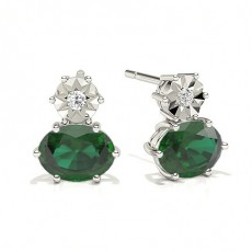 Oval Emerald Earrings