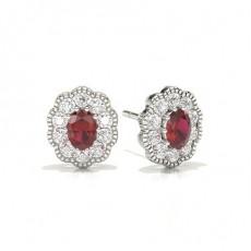 Oval Ruby Diamond Earrings