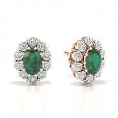 Rose Gold Emerald Diamond Earrings