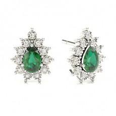 Pear Emerald Diamond Earrings