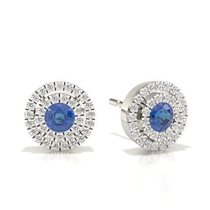 Lünette Einstellung Halo Blue Sapphire Ohrring