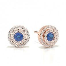 Rose Gold Sapphire Earrings
