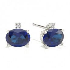 Oval Boucles d'oreilles saphir bleu
