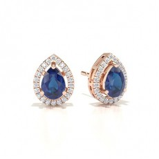 Or Rose Boucles d'oreilles saphir bleu