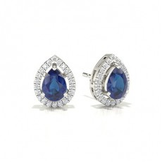 Pear Sapphire Diamond Earrings
