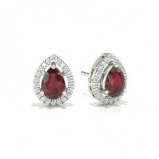 Pear Ruby Diamond Earrings