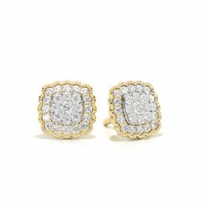 Yellow Gold Cluster Diamond Earrings