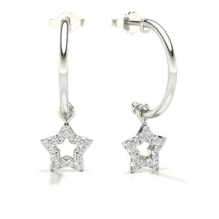 Fishtail Setting Round Diamond Hoop Earrings