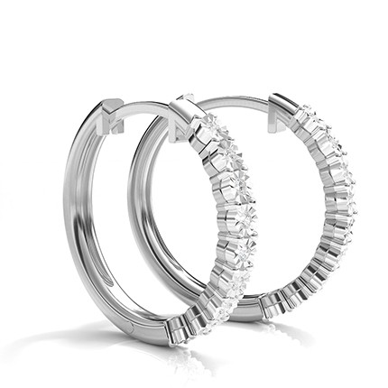 Illusion Plate Prong Setting Round Diamond Hoop Earrings