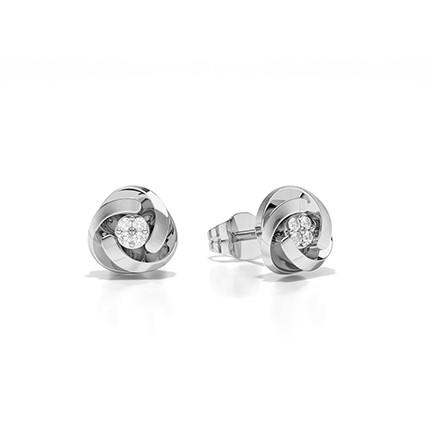 Handset Round Plate Prong Setting Round Diamond Stud Earring