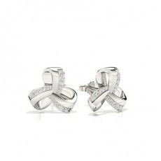Boucle d'oreille en diamant rond serti plaque