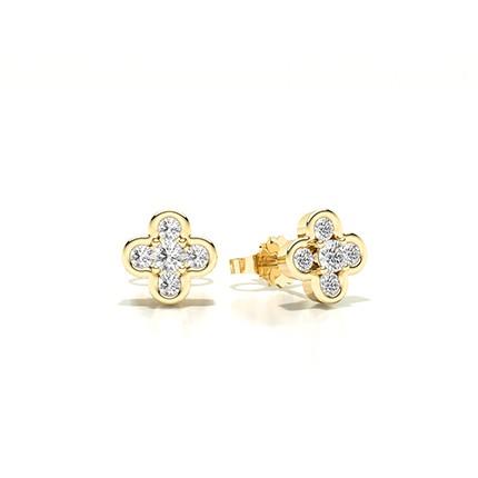 Bezel Setting Round Diamond Stud Earring