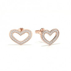 Boucle d'oreille en diamant rond serti micro griffes