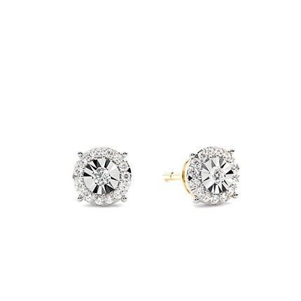 Boucle d'oreille diamant rond serti micro griffes