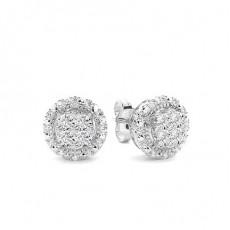 Boucles d'oreilles diamant rond serti griffes plaque illusion
