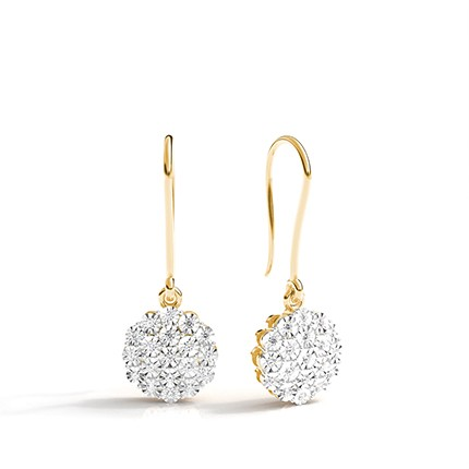 Illusion Plate Prong Setting Round Diamond Cluster Earrings